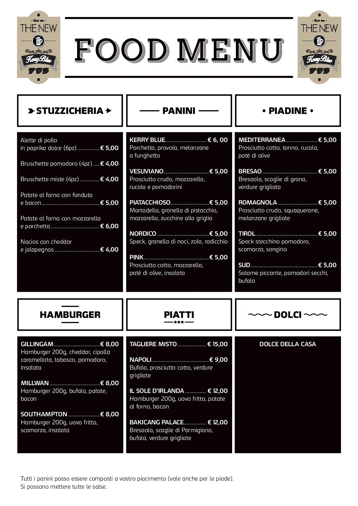 il menu' del The New